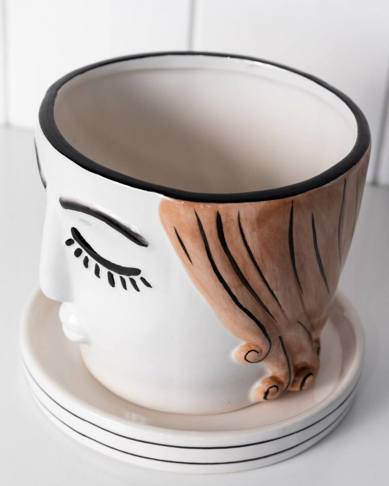 Girl Ceramic Planter with Saucer