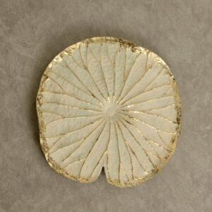 Golden White Lotus Flower Leaf Resin Wall Art