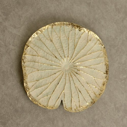 Golden White Lotus Flower Leaf Resin Wall Art