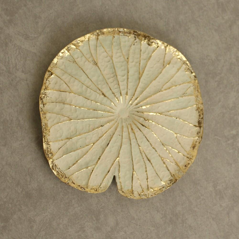 Golden White Lotus Flower Leaf Resin Wall Art 47cm Dalisay