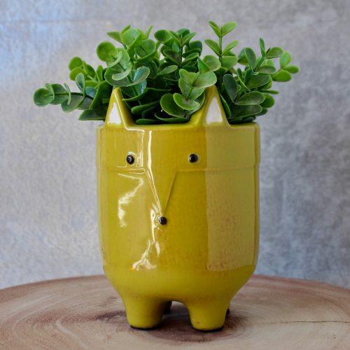 Green Fox Ceramic Pot Planter