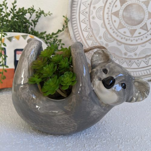 Hanging Grey Koala Ceramic Planter