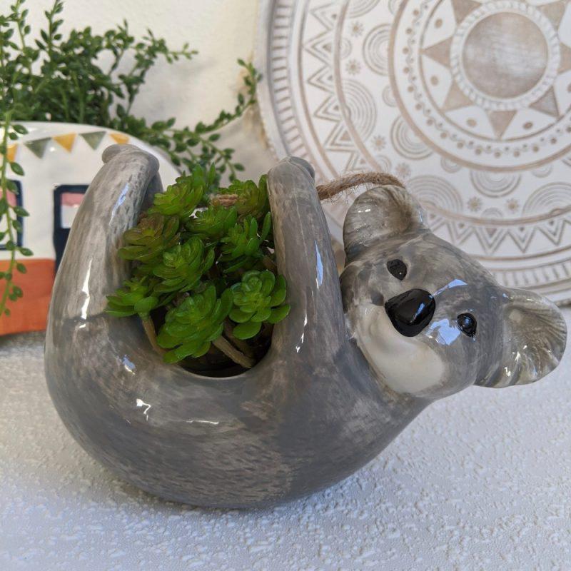 Hanging Grey Koala Ceramic Planter