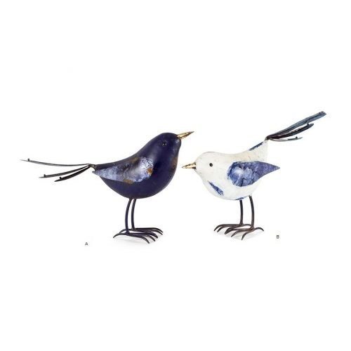 Large Blue and White Metal Bird Figurine