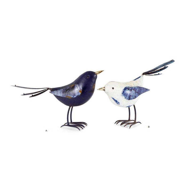 Large Blue and White Metal Bird Figurine