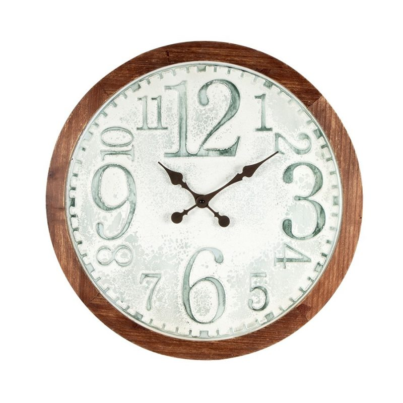 Large Hamptons Distressed White Metal Wall Clock with Timber Frame