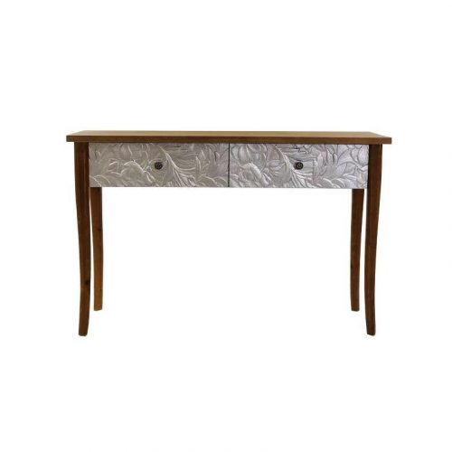 Large Silver Floral Timber Console Table