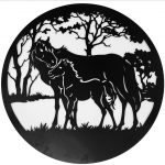 Loving Mother and Baby Horse Metal Wall Art