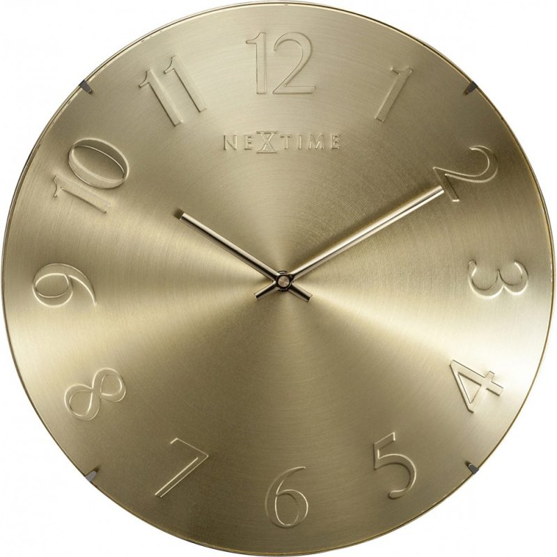 Metallic Gold Nextime Glass Silent Wall Clock