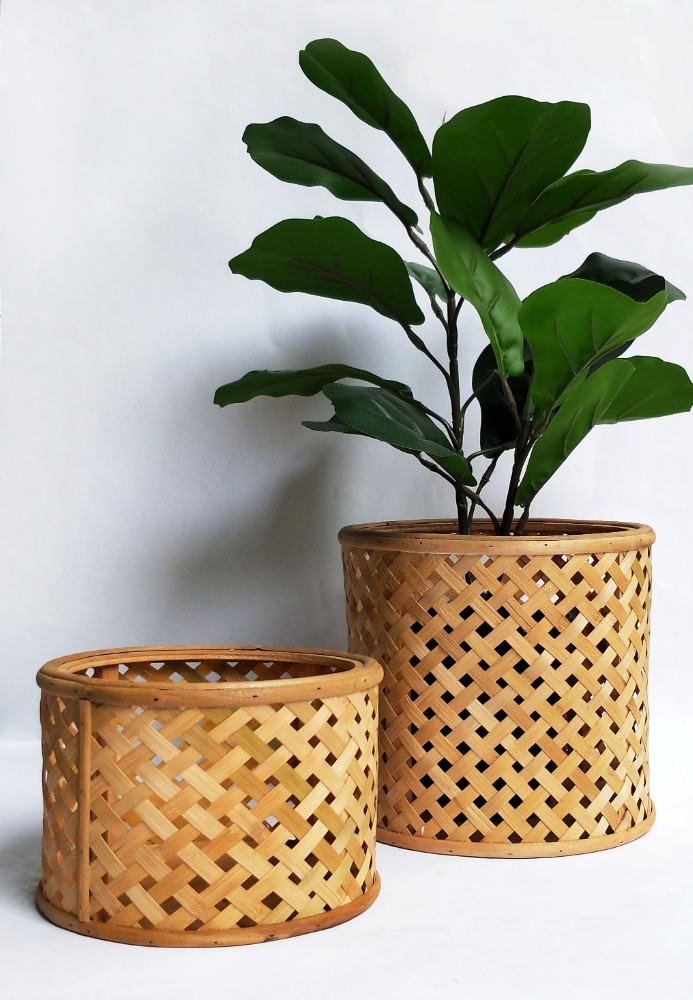 Modern Cane Weave Natural Pot Planters