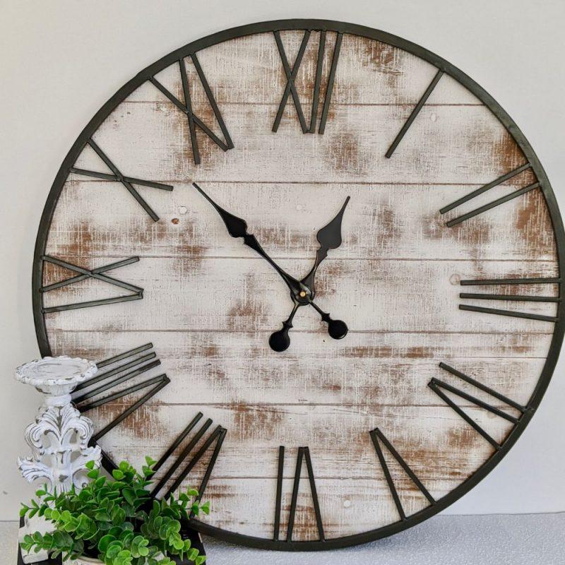 New Extra Large Whitewash Hamptons Timber Iron Wall Clock