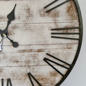 New Extra Large Whitewash Hamptons Timber Iron Wall Clock