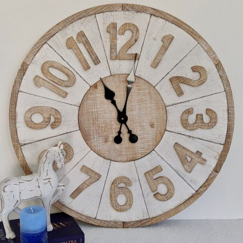 New X Large Distressed White Hamptons Wooden Wall Clock
