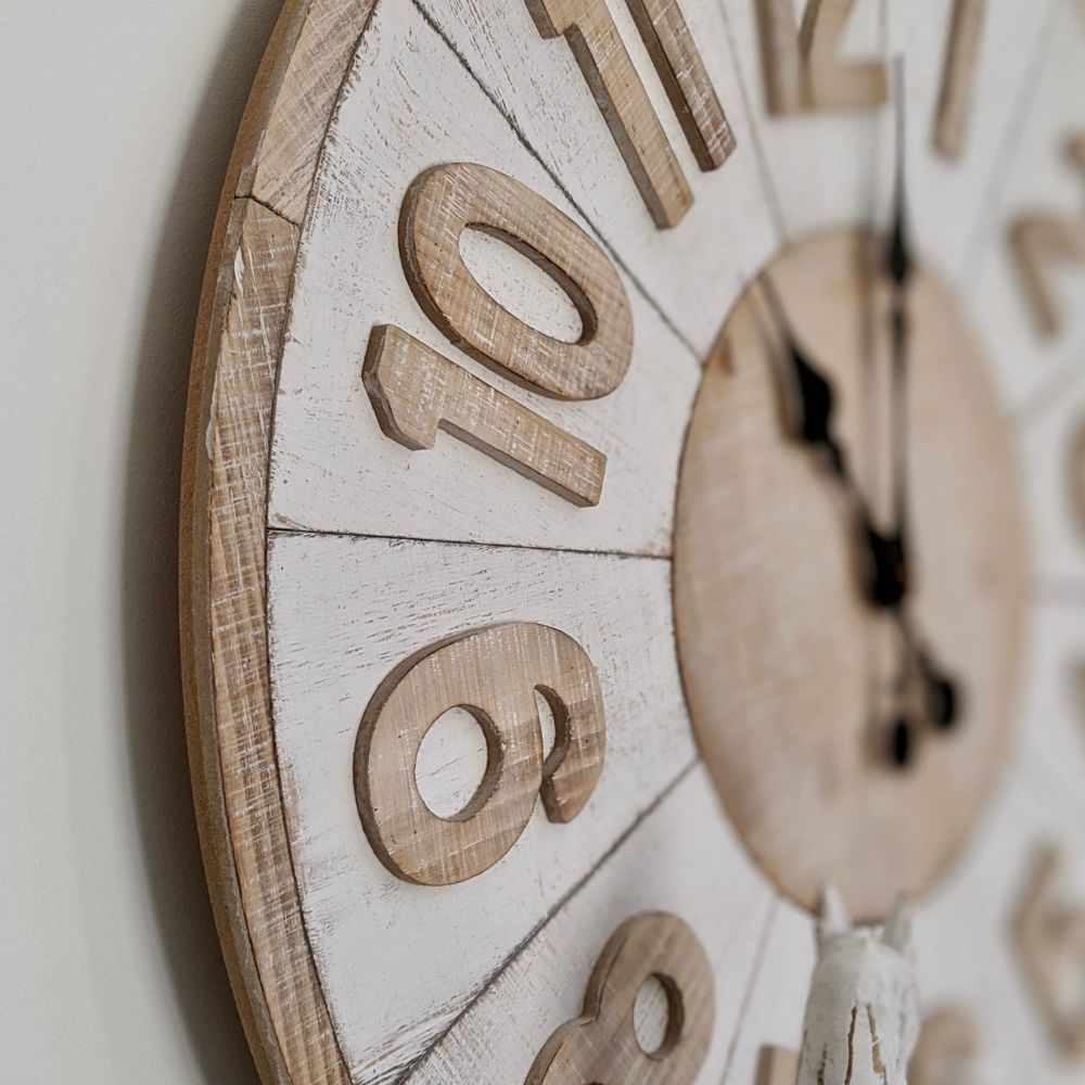 Distressed White NEW Hamptons Moulded Floating Wooden Wall Clock 73cm new