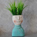 Noble Boy Face Head Concrete Pot Planter