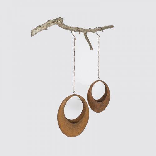 Oval Planter Rustic Metal Hanging Pot