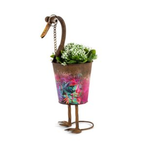 Rustic Duck Metal Pot Planter