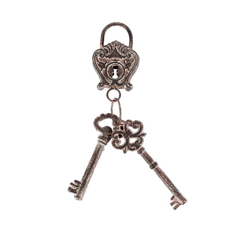 Rustic Metal Lock And Keys Decorative Ornament