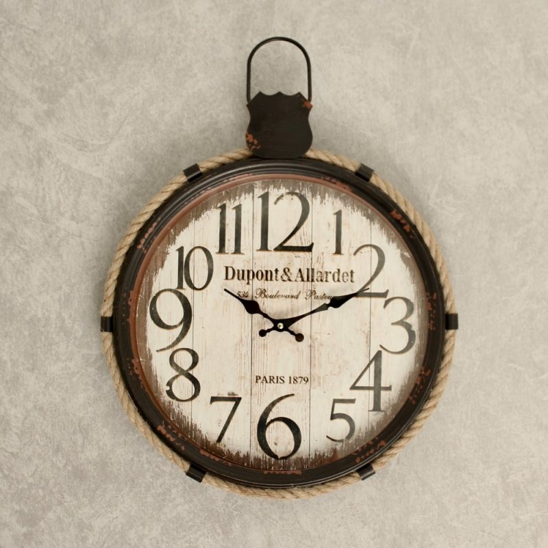 Rustic White French Metal Wall Clock with Glass Front