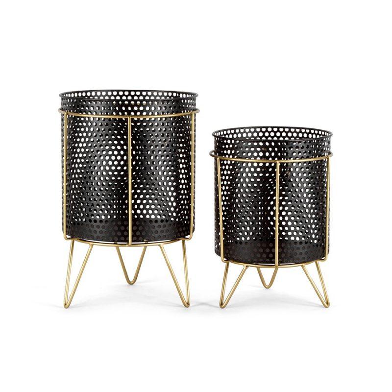 Set of 2 Black Gold Metal Pot Planters On Legs