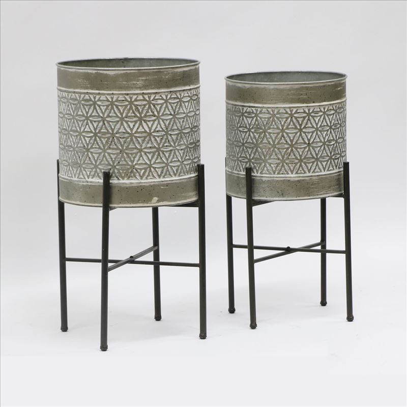 Set of 2 Floral Metal Pot Planters On Legs