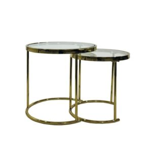Set of 2 Gold Metal Glass Side Tables