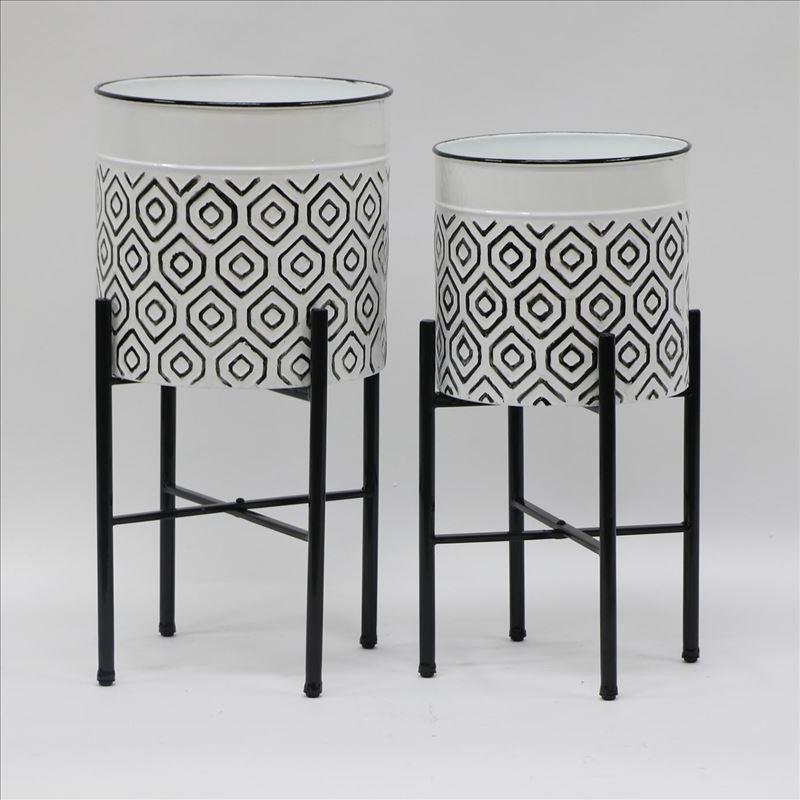 Set of 2 Hexagon Black White Metal Pot Planters On Legs