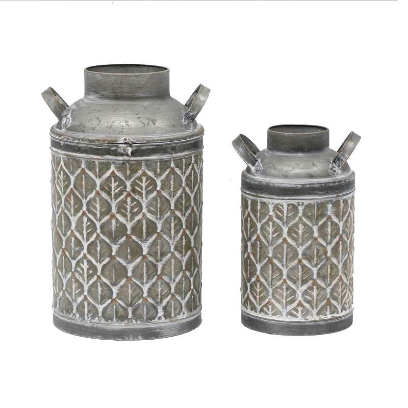 Set of 2 Leaf Pattern Milk Can Metal Pot Planters