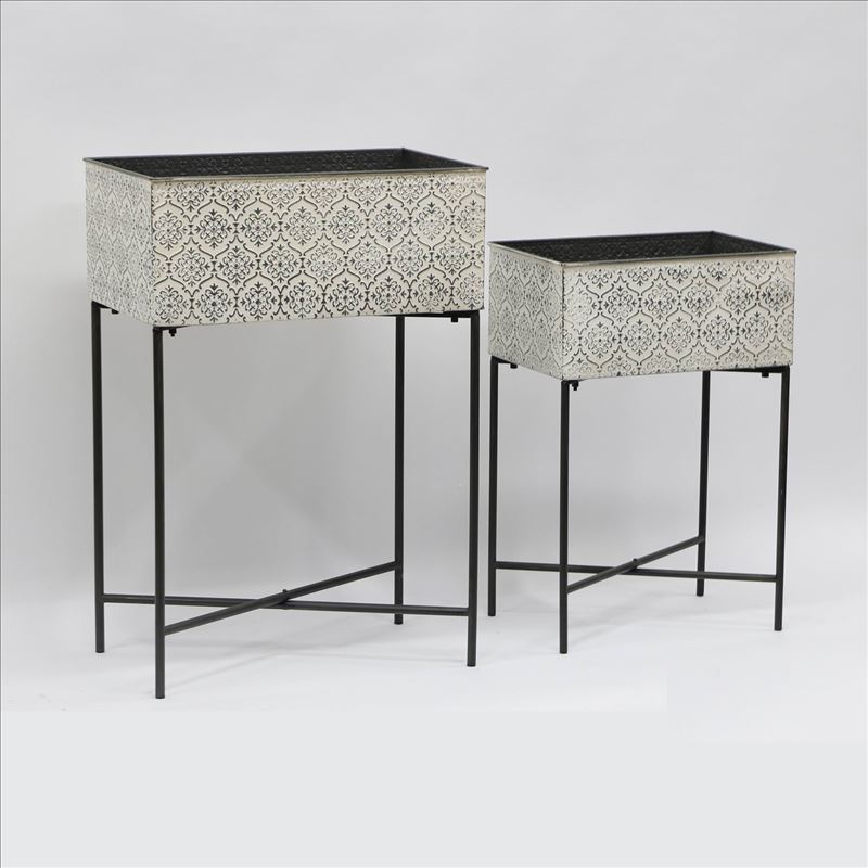 Set of 2 Moroccan Metal Pot Planters On Legs