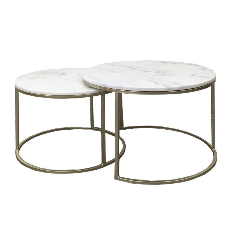 Set of 2 Round Metal Marble Top Coffee Table