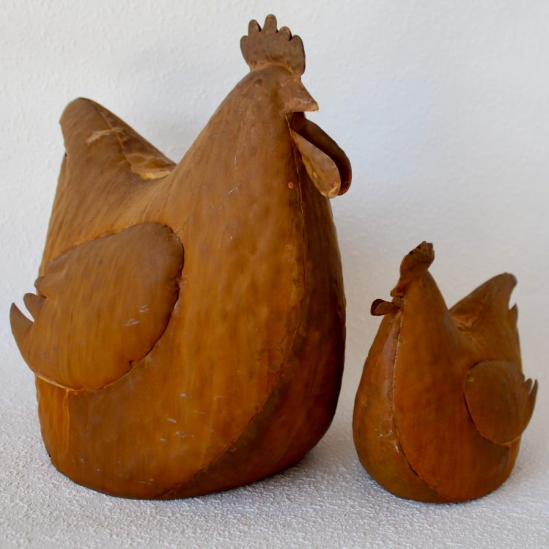 Set of 2 Rustic Fat Rooster Chicken Figurine