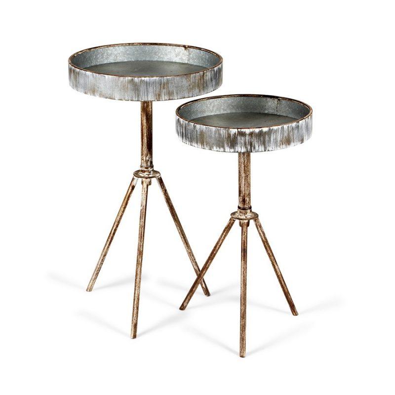 Set of 2 Whitewash Galvanised Metal Side Tables