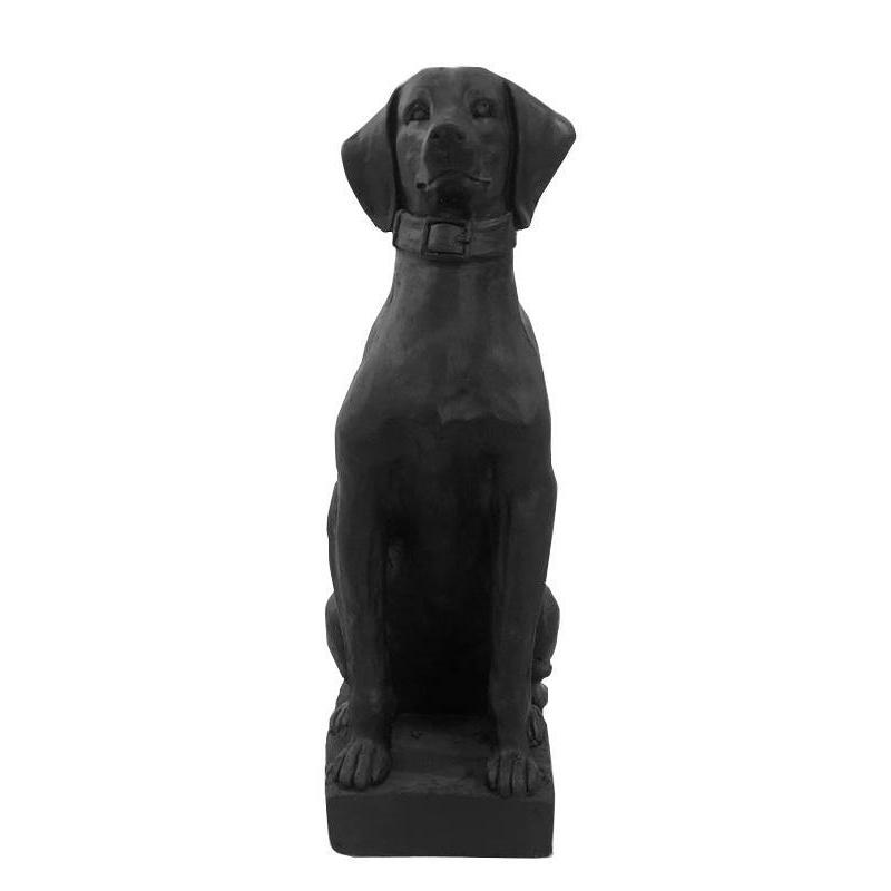 Tall Dog Statue Matt Black Figurine
