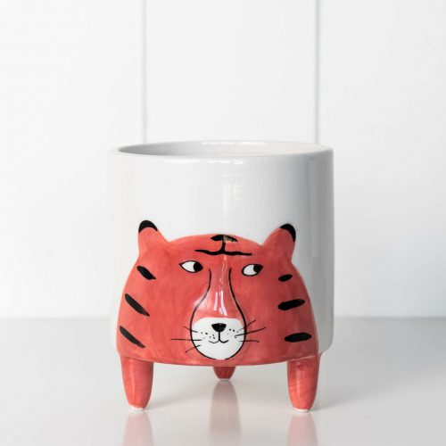 Orange Tiger Animal Ceramic Pot Planter