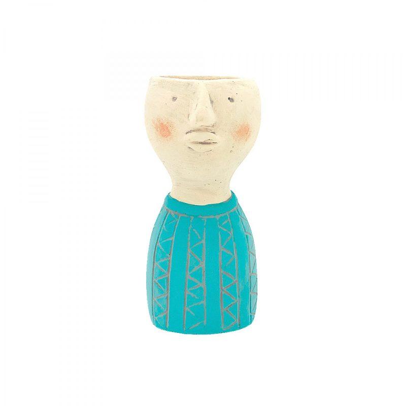 Turquoise Boy Face Head Concrete Pot Planter