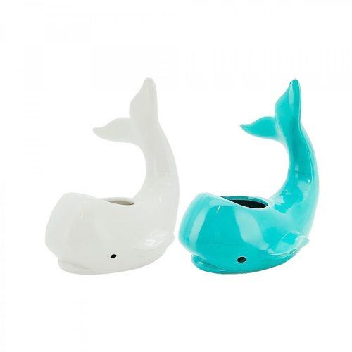 White & Aqua Ceramic Whale Planter Pot