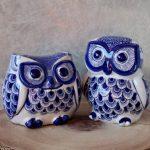 Hamptons Blue Ceramic Owl Statue Figurine