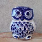Hamptons Blue Ceramic Owl Statue Figurine_