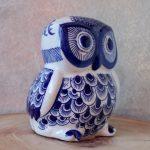 Hamptons Blue Ceramic Owl Statue Figurine_3