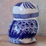 Hamptons Blue Ceramic Owl Statue Figurine_4