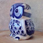 Hamptons Blue Ceramic Owl Statue Figurine_5