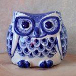 Hamptons Blue Ceramic Owl Statue Figurine_6