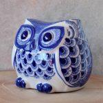 Hamptons Blue Ceramic Owl Statue Figurine_7