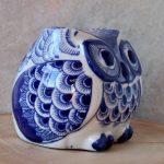 Hamptons Blue Ceramic Owl Statue Figurine_8
