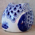 Hamptons Blue Ceramic Owl Statue Figurine_9