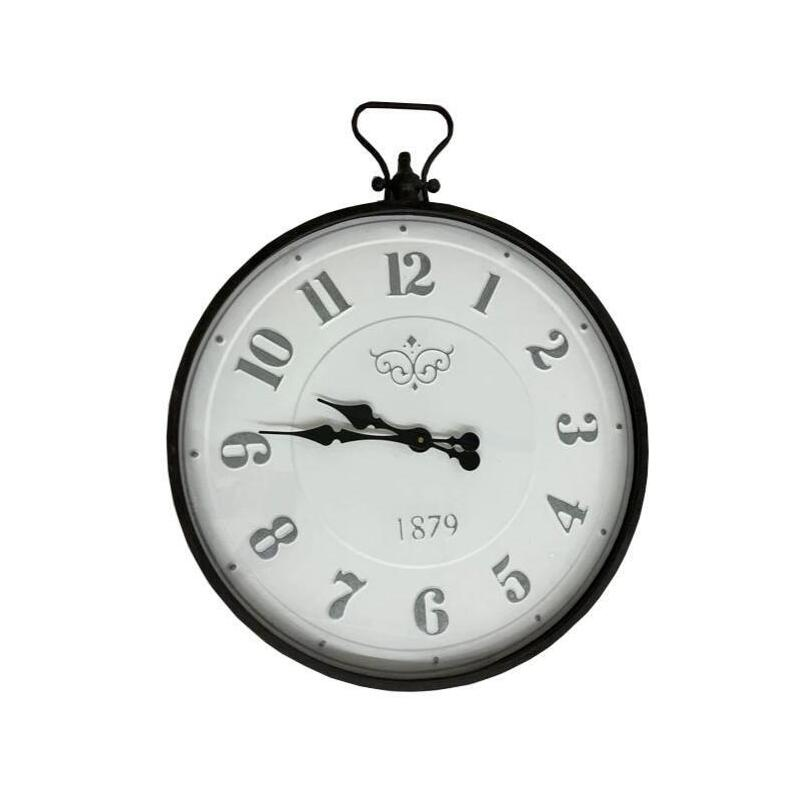 Big XL French Metal Wall Clock with Glass Front