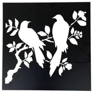 Birds Metal Art Laser Cut Leaves Wall Decor
