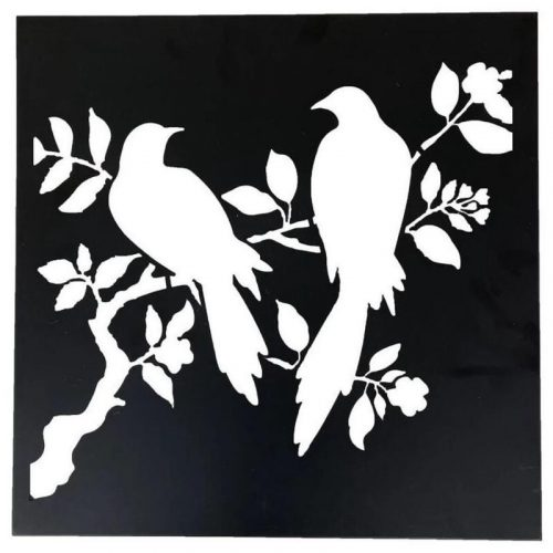 Birds Metal Art Laser Cut Leaves Wall Decor