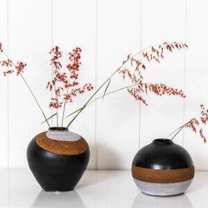 Black Terracotta Vase Handmade Decorative Flower Pot