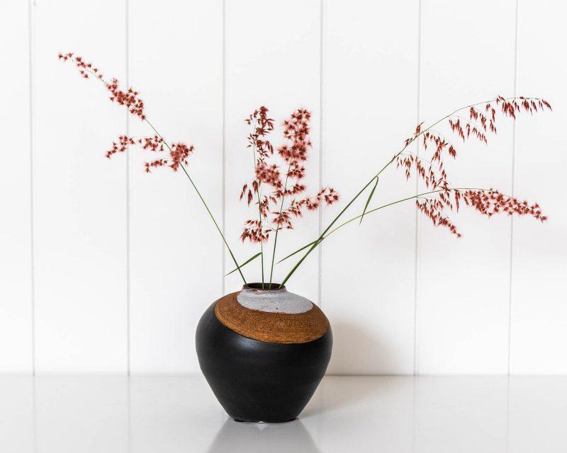 Black Terracotta Vase Handmade Decorative Flower Pot